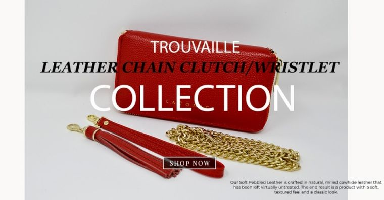 Laconic Style Trouvaille Leather Chain Clutch / Wristlet/ Smartphone Wallet