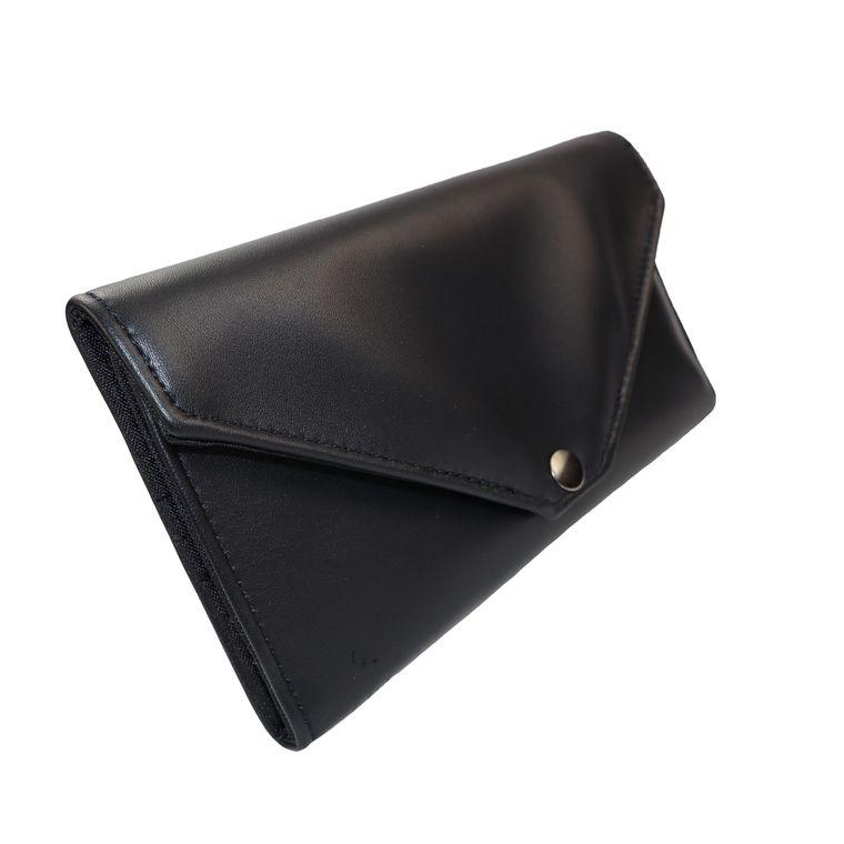 Women's Lambskin Leather Envelope Wallet, Womens Leather Clutch Wallet, Long Wallet with Snap