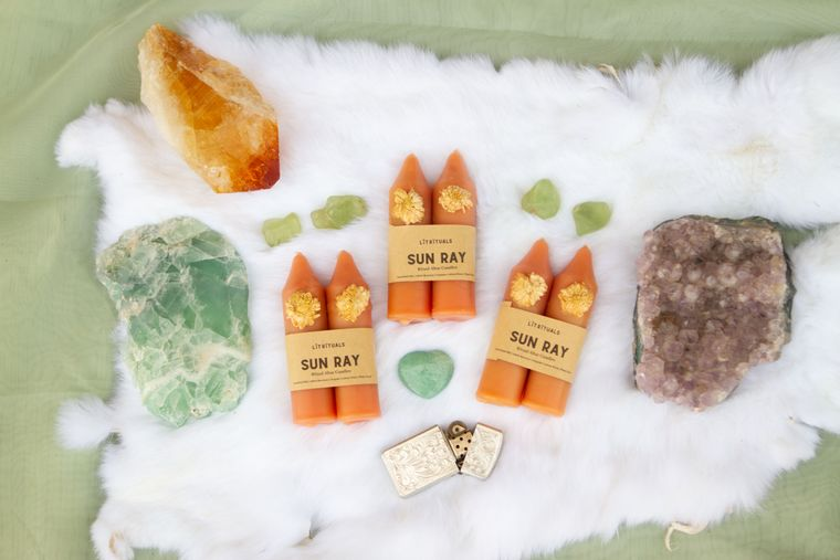 Sun Ray' Beeswax Altar Candles - Small