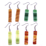 Stained Glass Earrings - Dangle Long - Earth Colors & Brown