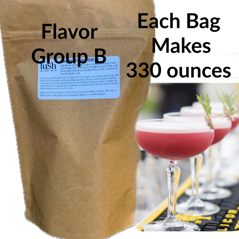 Extra-Large Bulk Mix for Serving Lush in Slushie Machines. Yield 330 oz. Flavor Group B