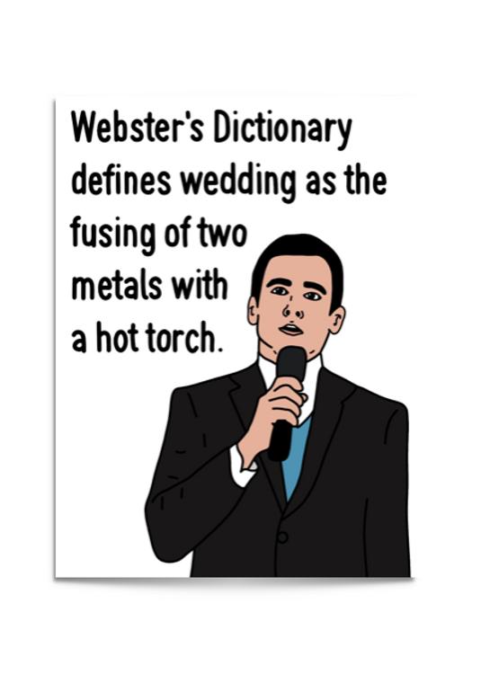 michael scott wedding toast card