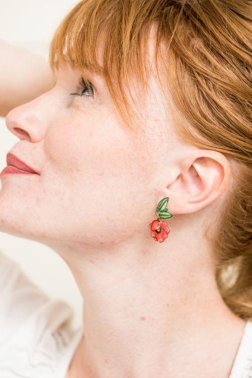 Poppy Flower Drop Earrings