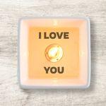 Secret message candle: I LOVE YOU