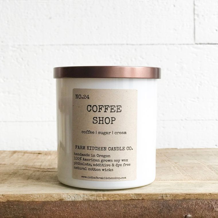 Coffee Shop soy candle- white