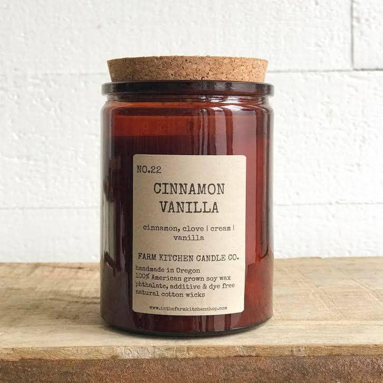 Cinnamon Vanilla soy candle- amber