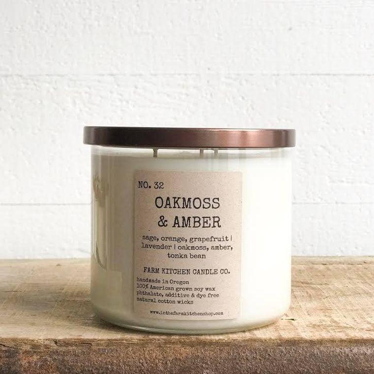 Oakmoss & Amber soy candle- triple wick