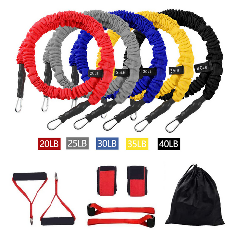 12-pce Resistance Band Home Workout Set