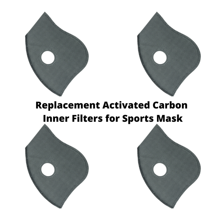 Replacement Activated Carbon Inner Filters for Sports Mask (4 Pack)
