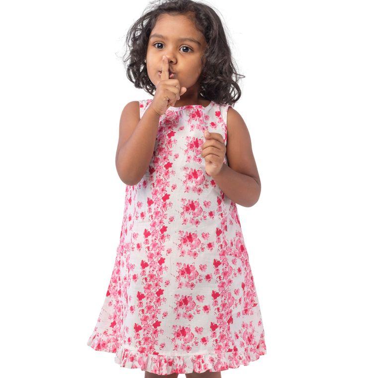 Malabar dress - pink jasmine blockprint