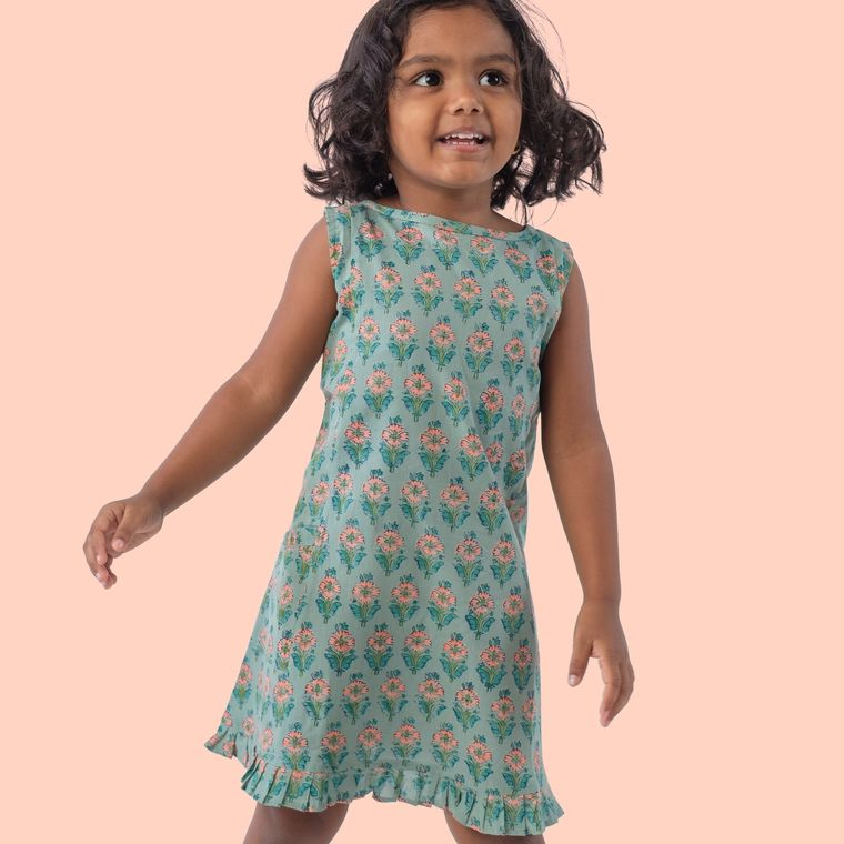 Malabar dress - indigo marigold blockprint