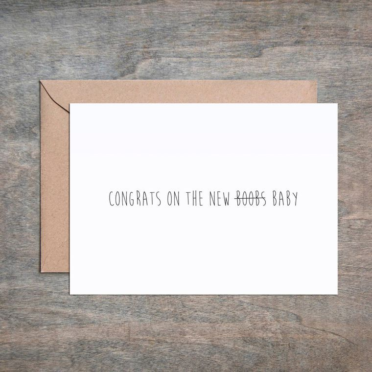 New Boobs Baby Shower Card
