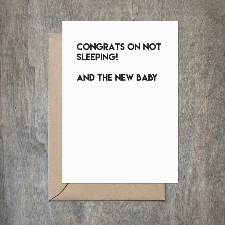 No Sleep Baby Shower Card