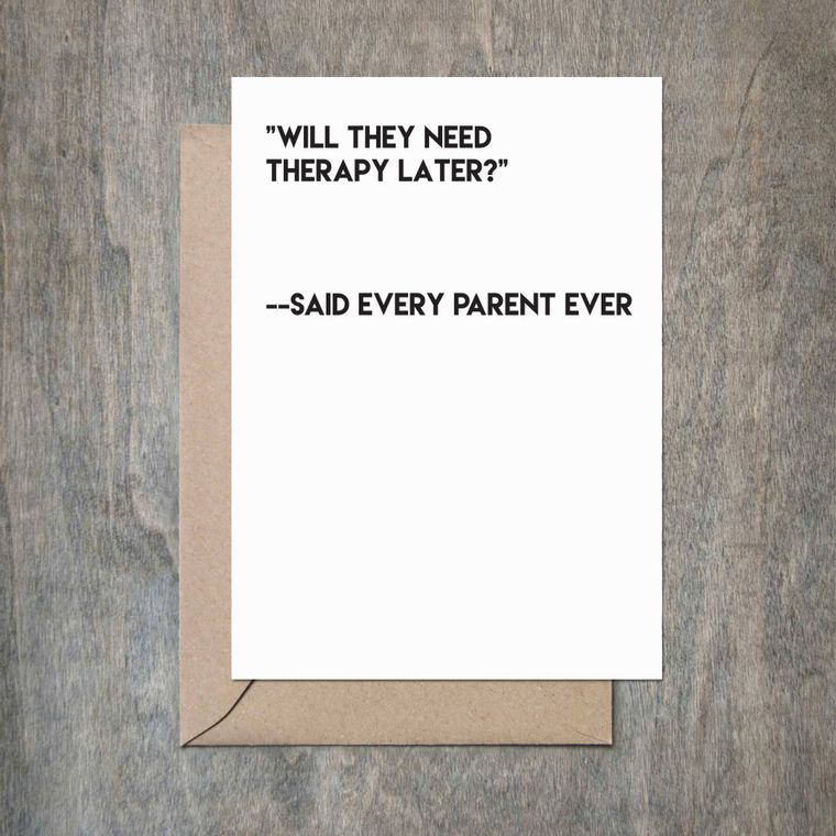 Therapy Later Baby Shower Card