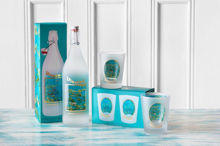 Glass Bottle decorated with Van Gogh Almond Blossom Artwork