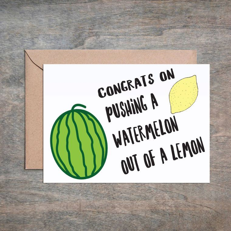 Watermelon Lemon Baby Shower Card
