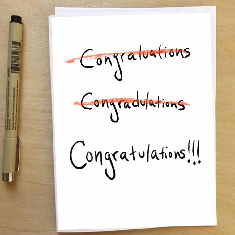 """Congratulations"" Humorous, illustrated Greeting Card"