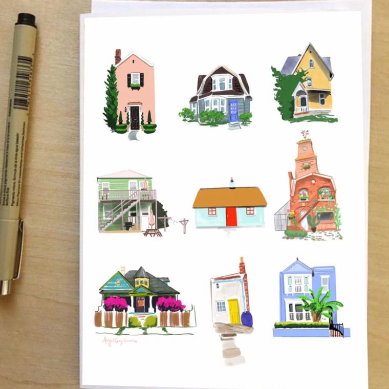 Little Houses, any occasion, illustrated Greeting Card