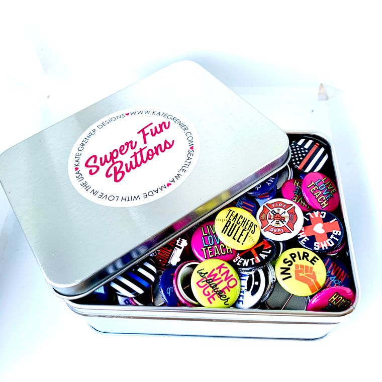 """Essential Workers Button Tin of 200 1"""" Buttons"""