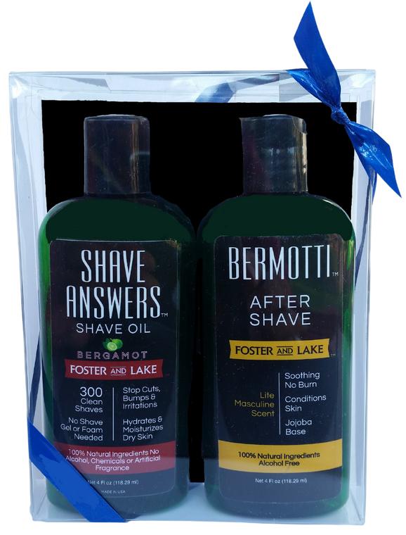 Shave N Soothe- Gift Set-Shave Answers Bergamot Shave Oil & Bermaotti Bergamot After Shave