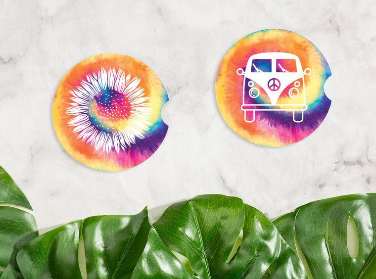 Tie Dye Van Car Coasters