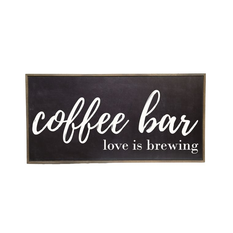 Farmhouse Décor - 32x16 Black Coffee Bar Love Is Brewing Rustic Wood Sign