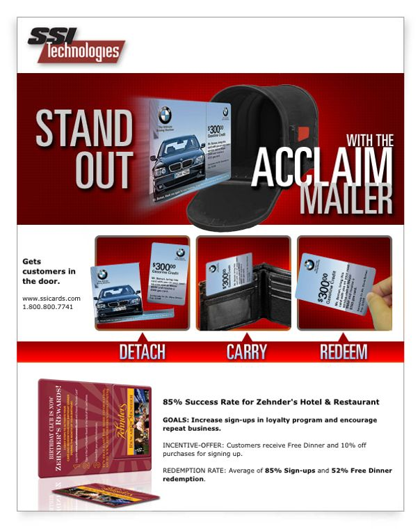 Acclaim Mailer - Plastic Postcard with break-off Gift Card
