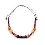 Necklace - Wooden Bombon, Burgundy