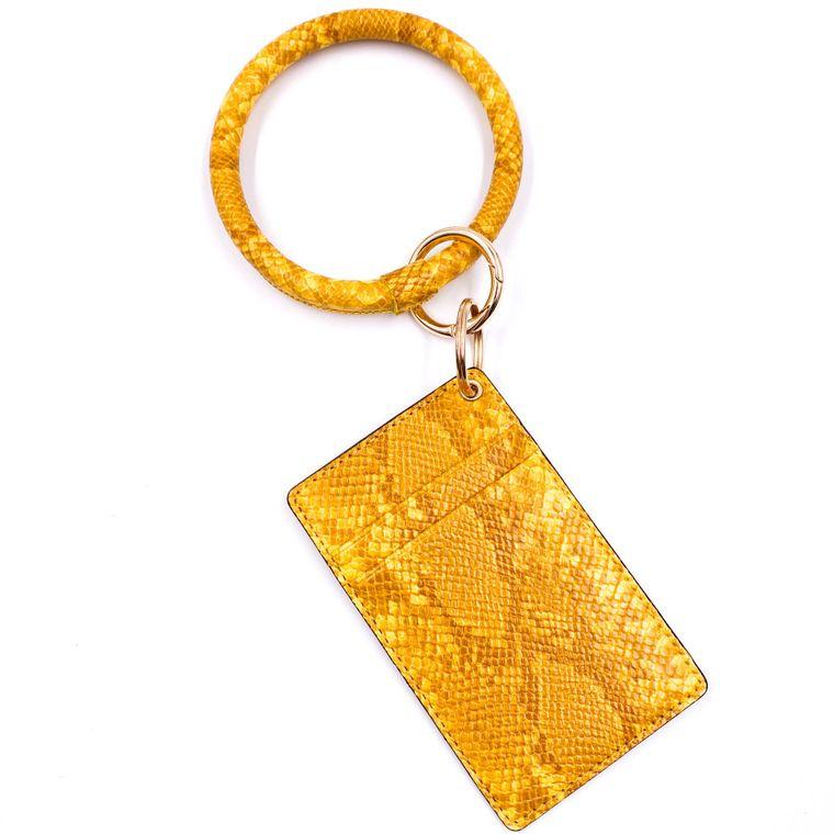 Snakeskin ID Holder Keyring - Yellow