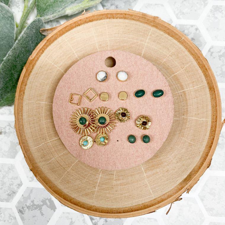 Emerald Earrings Set of 8