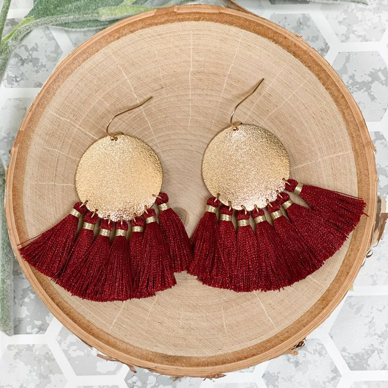 Trudy Earrings - Burgundy
