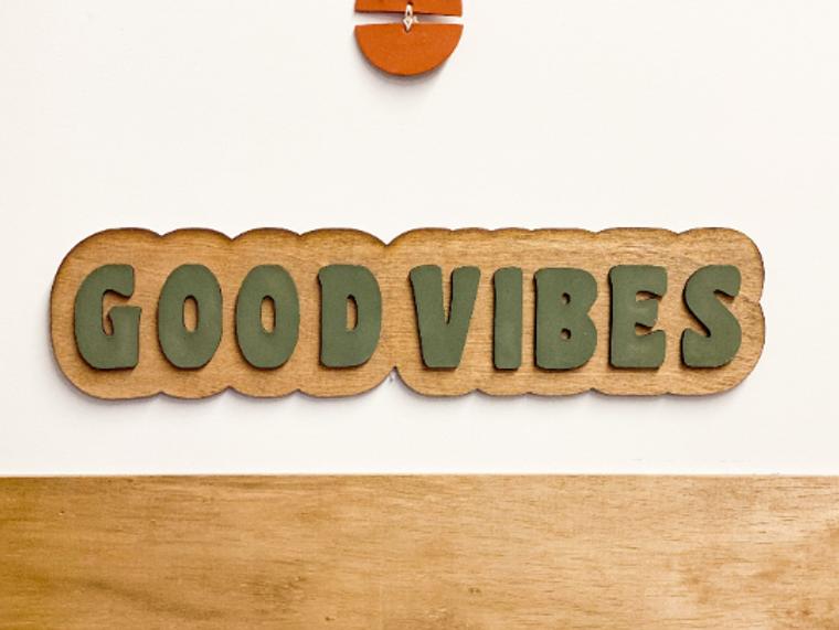 Good Vibes Laser Cut 3D Sign