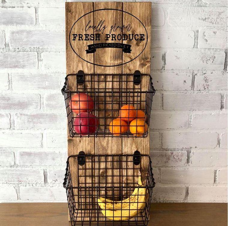 Fresh Produce 2 Basket Wall Hang