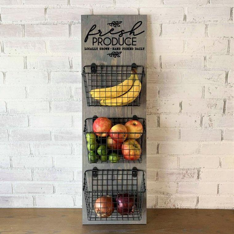 Fresh Produce 3 Basket Wall Hang Gray