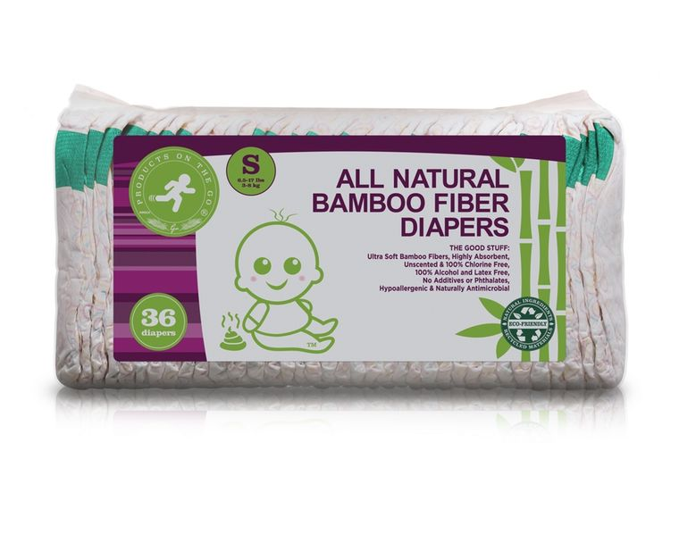 36X NATURAL BAMBOO FIBER DIAPERS VALUE PACKS (SIZE: SMALL)