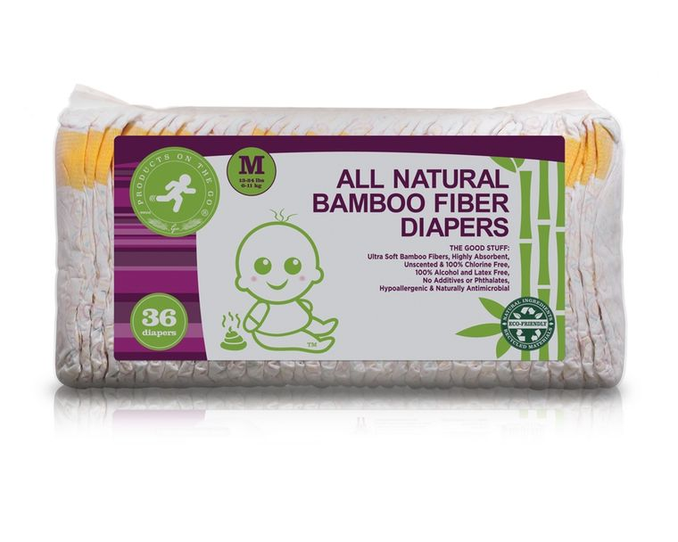 36X NATURAL BAMBOO FIBER DIAPERS VALUE PACKS (SIZE: MEDIUM)