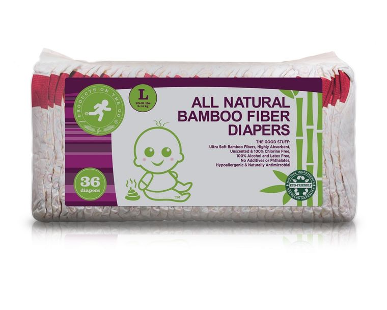 36X NATURAL BAMBOO FIBER DIAPERS VALUE PACKS (SIZE: LARGE)