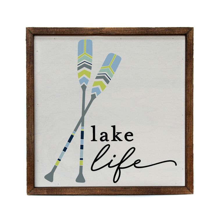 10x10 Lake Life Sign With Paddles - Rustic Farmhouse Décor