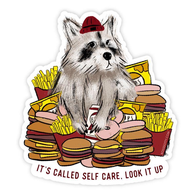 Self Care Raccoon Sticker