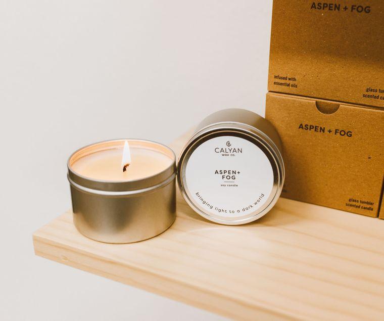Metal Tin Soy Candle - Aspen / Fog