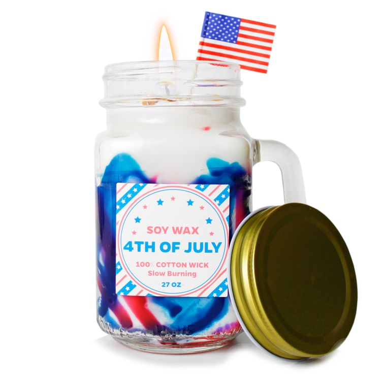 Made in America: Red white red mason jar soy wax candle 4th of July (Cinnaberries) \