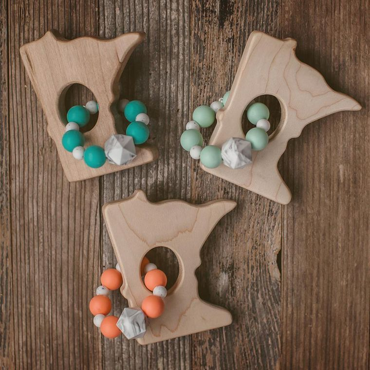 Minnesota Wood and Bead Teether