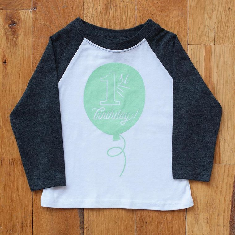 First Birthday in Mint Raglan Tee