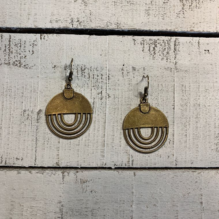 Antique Bronze Bohemian Geometric Rainbow Earrings - Metal Collection