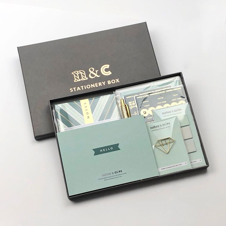 Green & Gold Stationery Gift Box