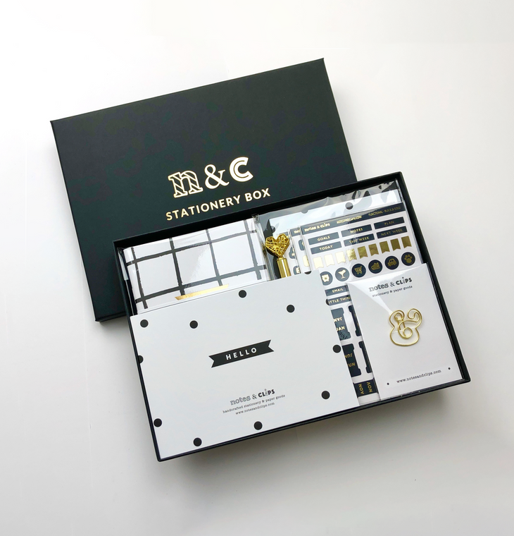 Black & Gold Stationery Gift Box