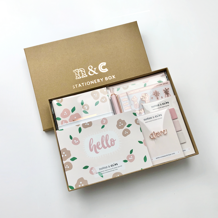 Floral Rose Gold Stationery Gift Box