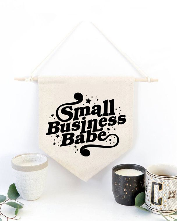 """""""Small Business Babe"""" Canvas Wall Banner"""