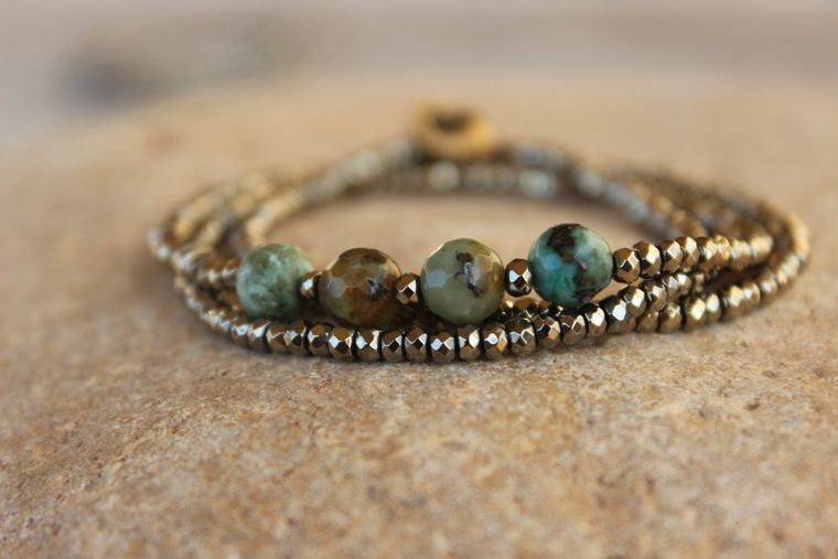 Light Gold Pyrite & glossy faceted African Turquoise beads triple wrap bracelet