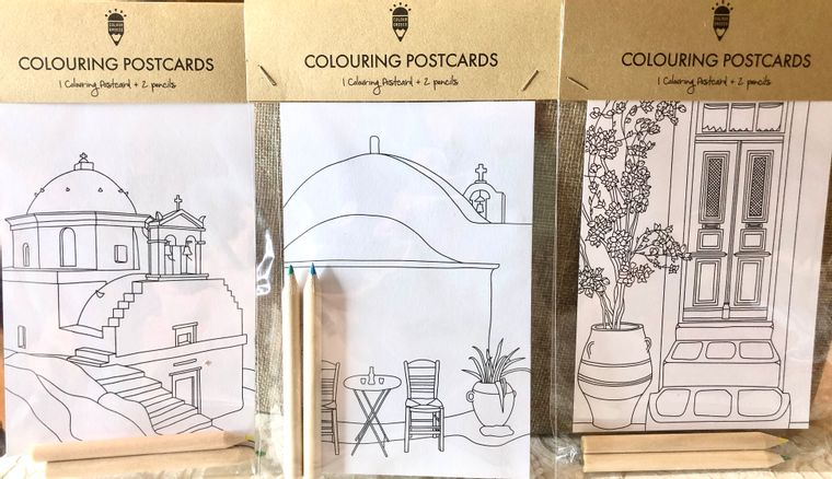 Charming Coloring Postcards (set of 6) - Printed in GREECE